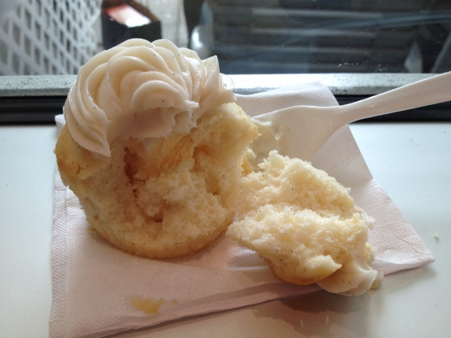 Vanilla Bean Frosty Bite -- a cupcake stuffed with vanilla ice cream. Yes, it's true.